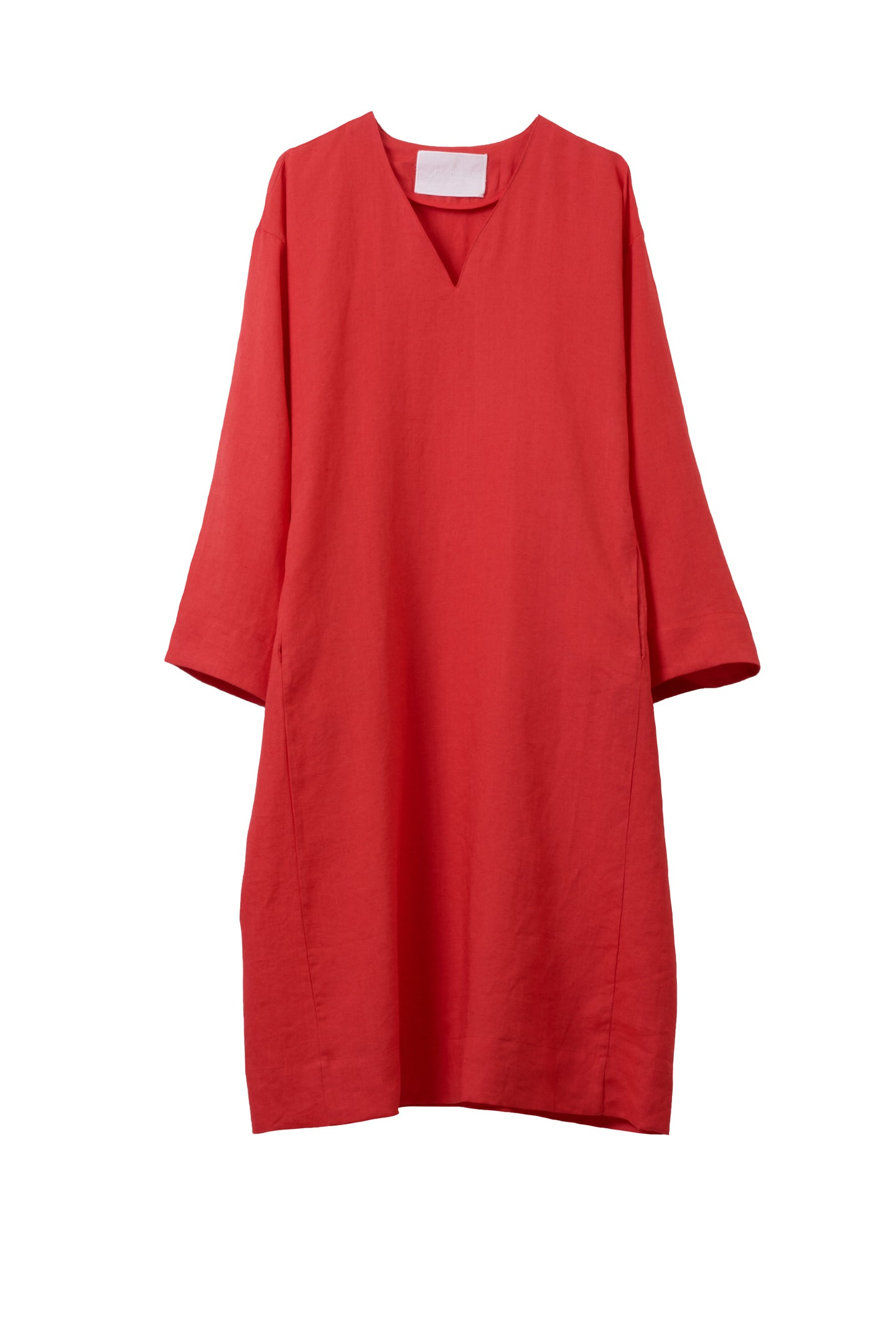 Color Linen Oversize Dress | Coral Red