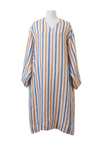 画像をギャラリービューアに読み込む, Striped Linen Oversized Dress | Multi Stripe Orange