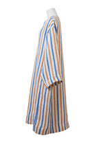 画像をギャラリービューアに読み込む, Striped Linen Oversized Dress | Multi Stripe Blue