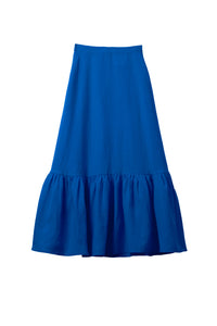 Color Linen Tiered Skirt | Sky Blue