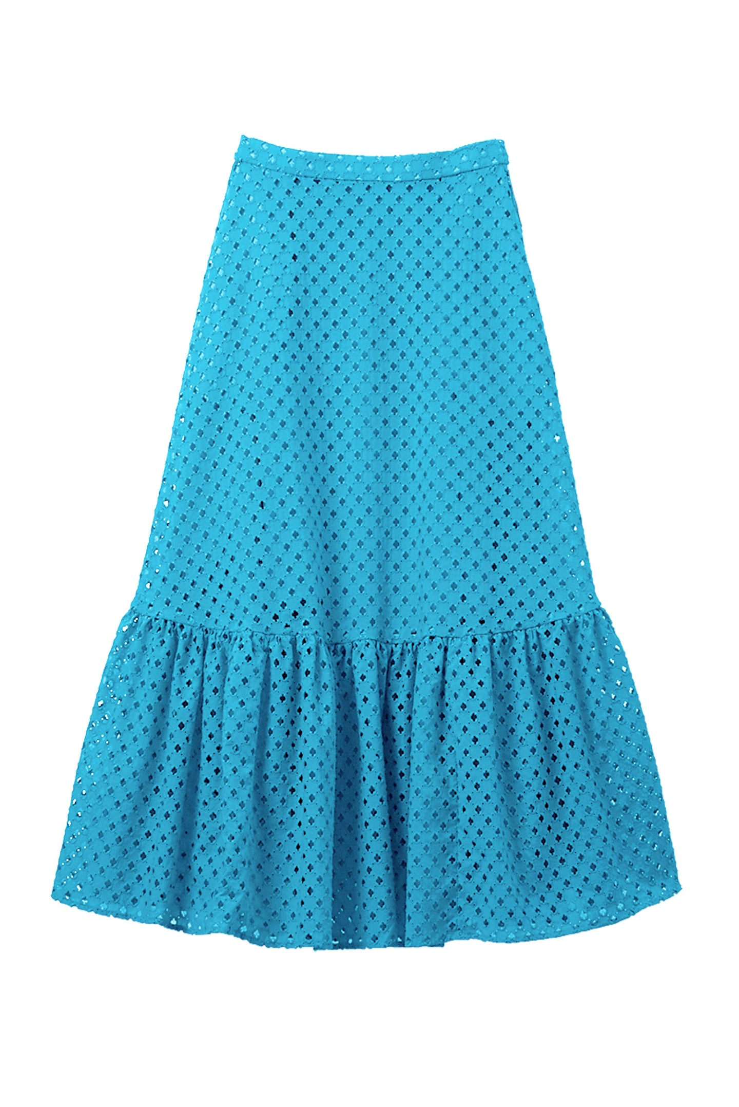 Cotton Lace Tiered Skirt | Turquoise Blue