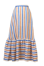Load image into Gallery viewer, Striped Linen Tiered Skirt | Multi Stripe Blue