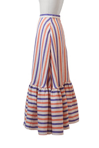 Striped Linen Tiered Skirt | Multi Stripe Orange