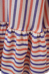 Striped Linen Tiered Skirt | Multi Stripe Lilac