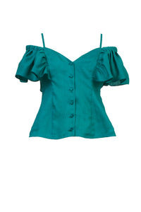 Botanical Dye Frilled Blouse | Peony Malachite