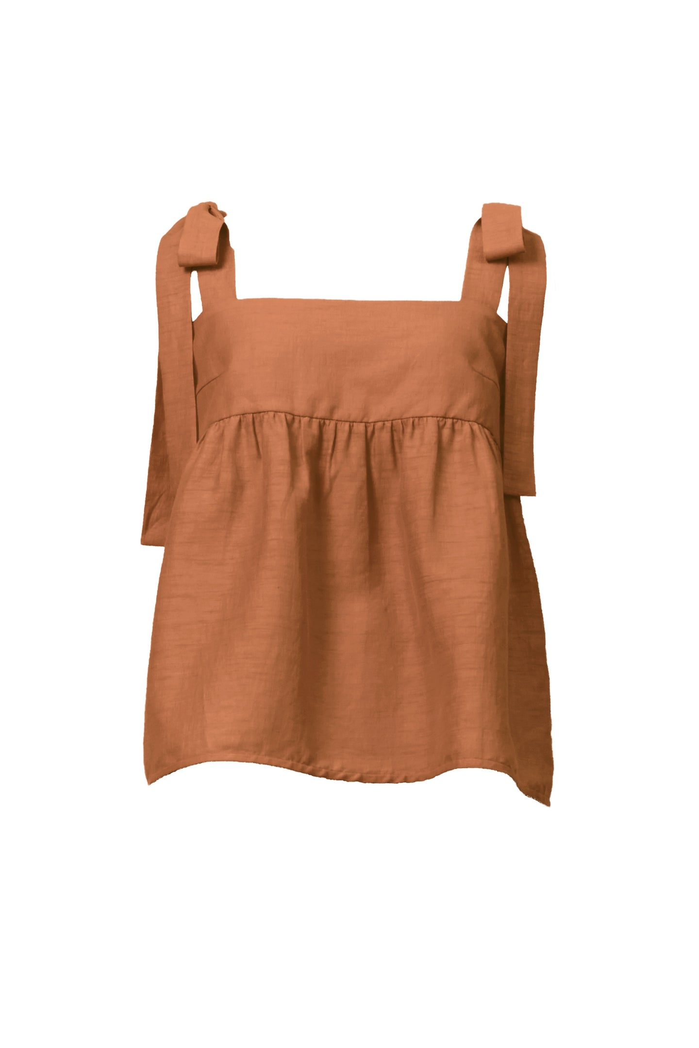 Shine Linen Shoulder Ribbon Blouse | Desert