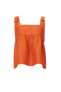 Shine Linen Shoulder Ribbon Blouse | Sunshine
