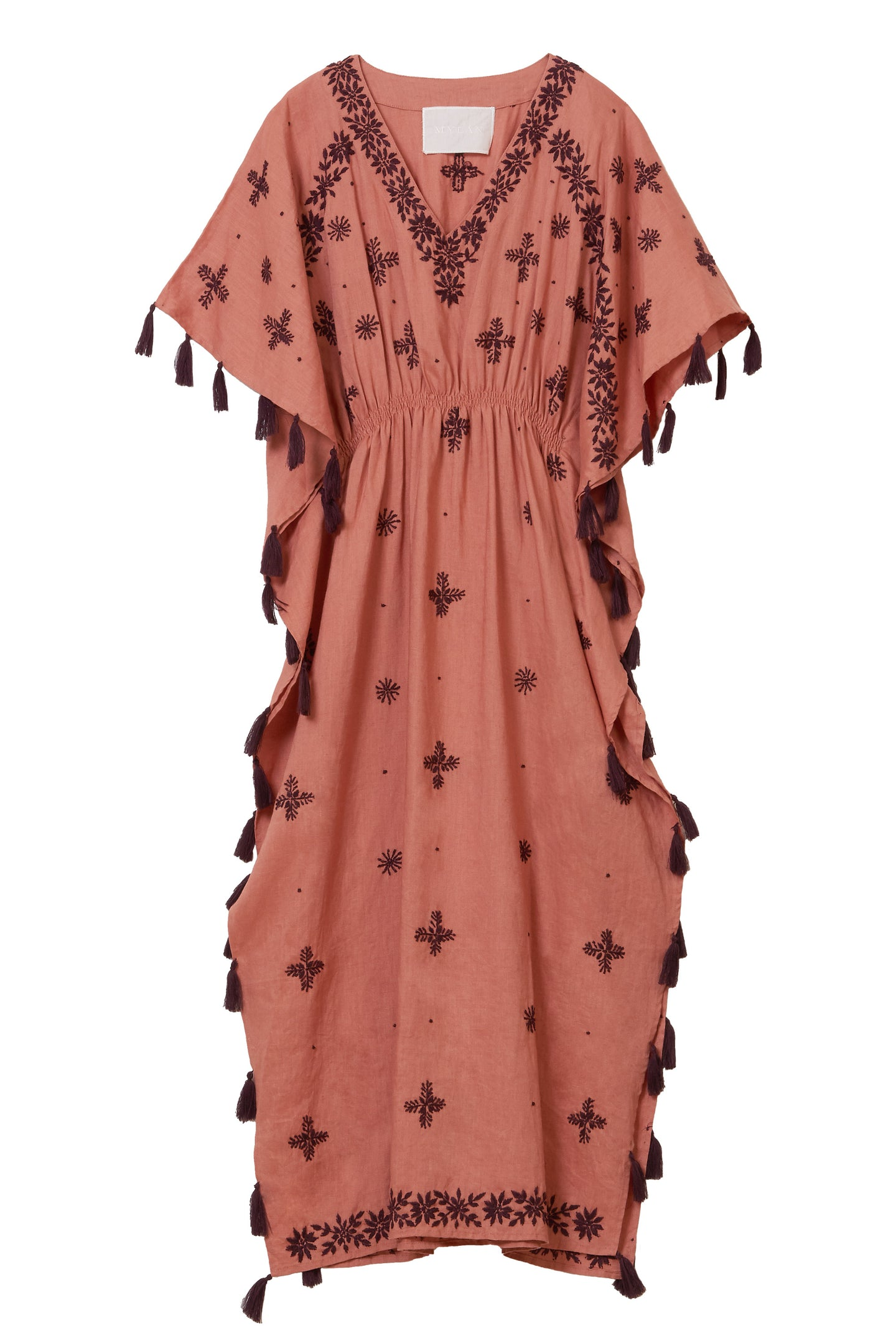 Tape Embroidery Dress | Terracotta