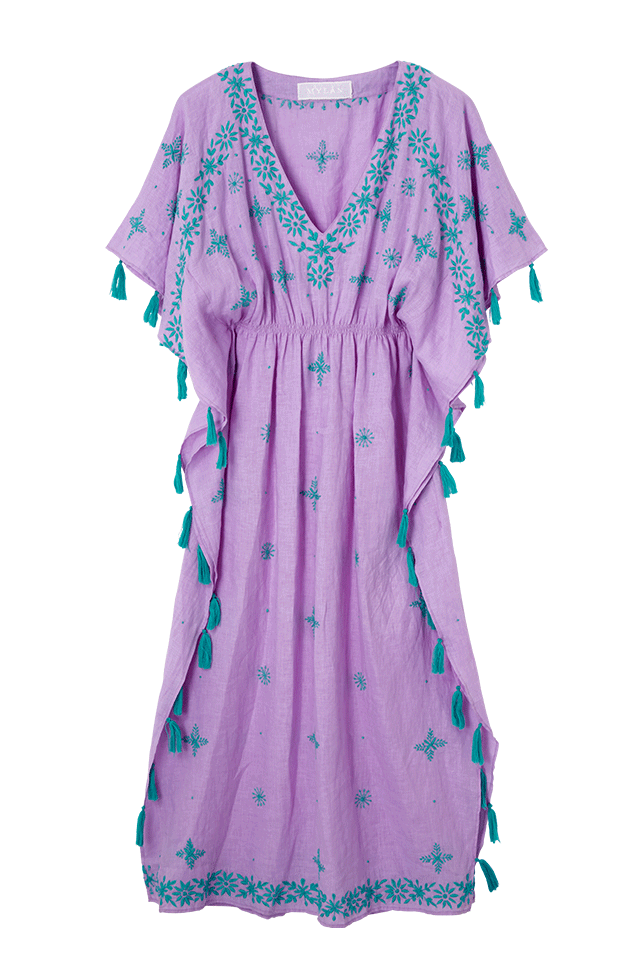 Tape Embroidery Dress | Lilac