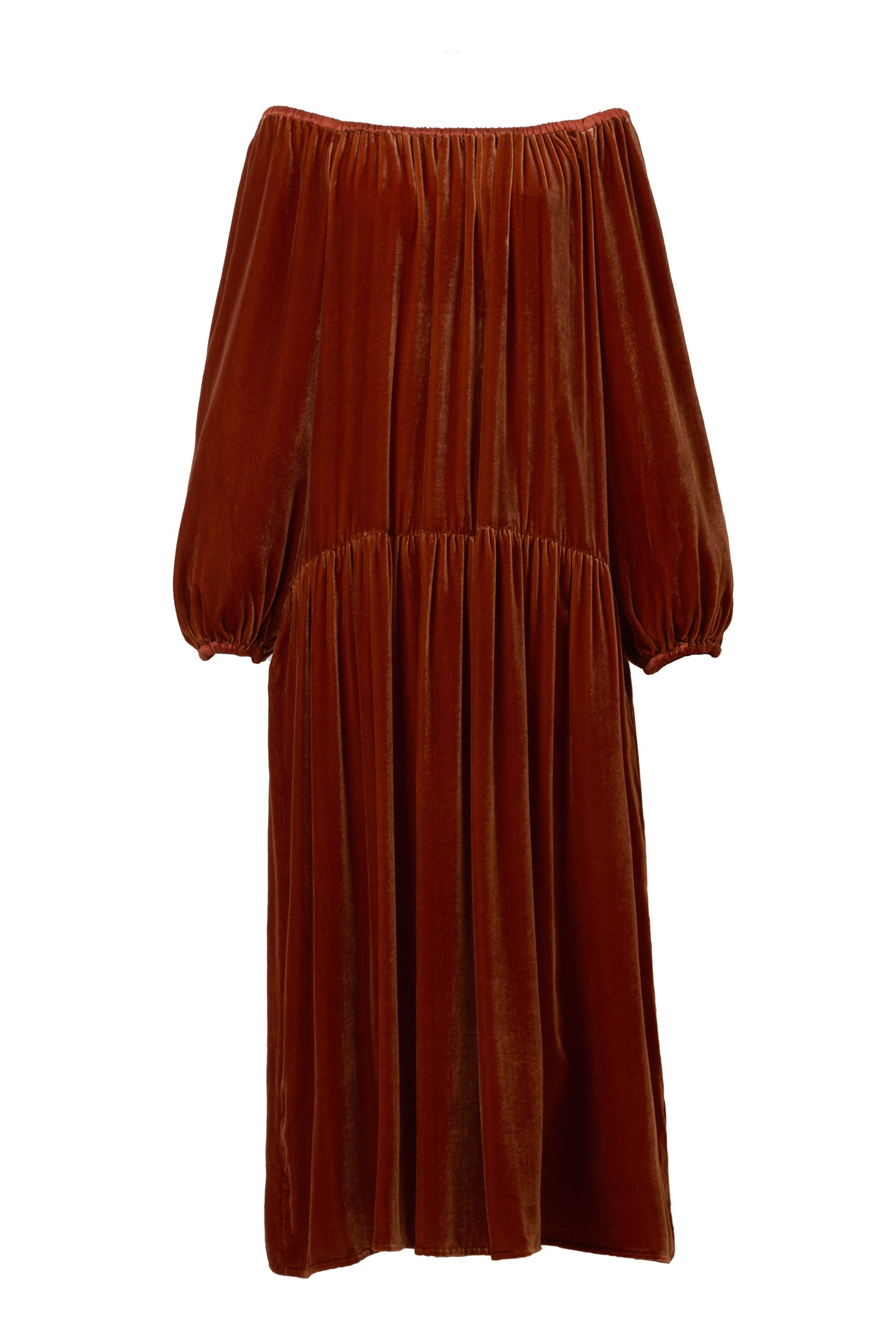 Velour Volume Sleeve Dress | Terracotta