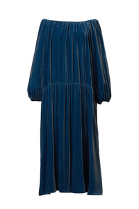 Velour Volume Sleeve Dress | Cerulean Blue