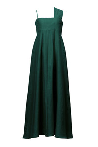 Shine Linen One Shoulder Dress | Forest Green