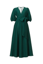 Load image into Gallery viewer, Shine Linen Vneck Maxi Dress | Forest green