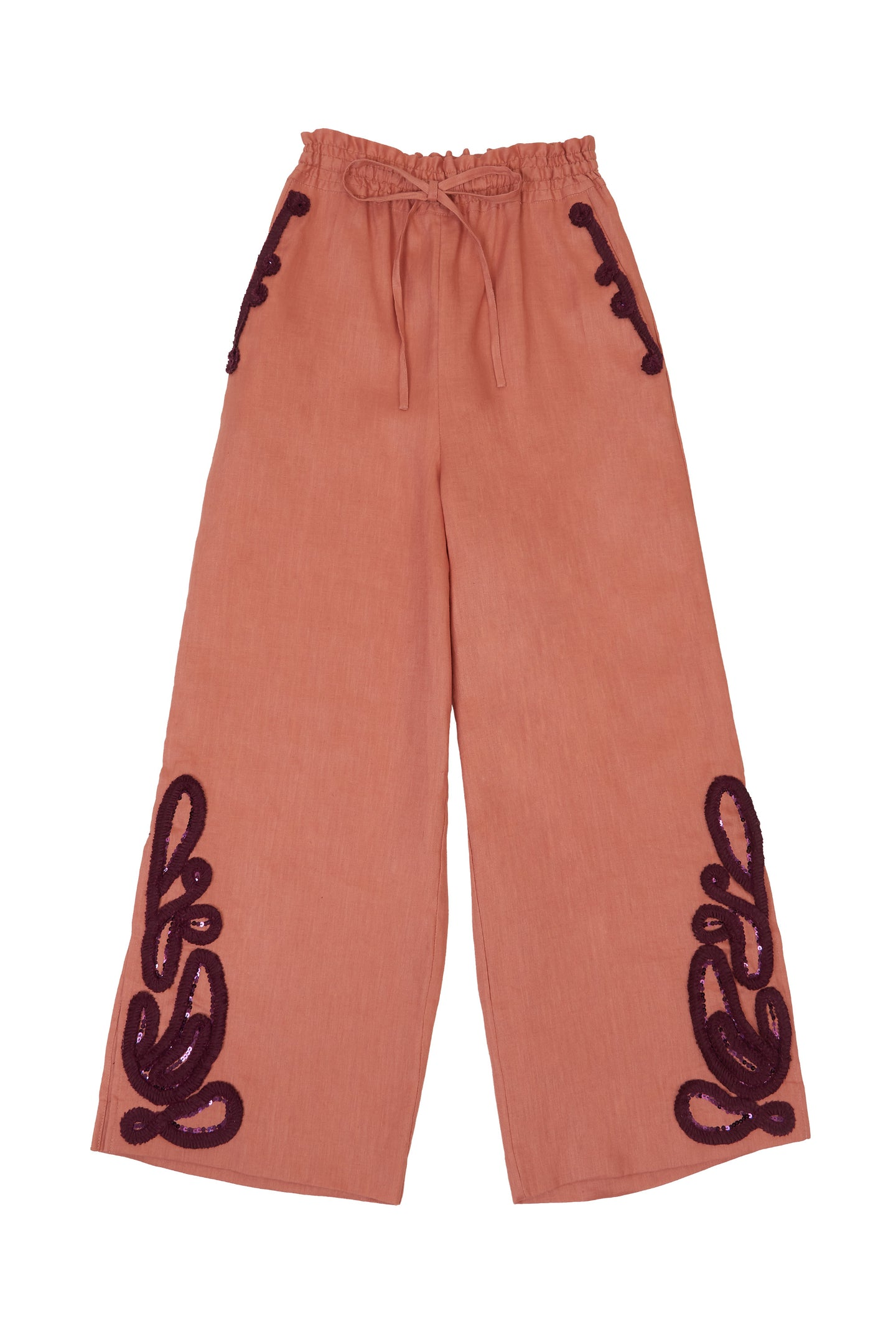 Tape Embroidery Pants | Terracotta