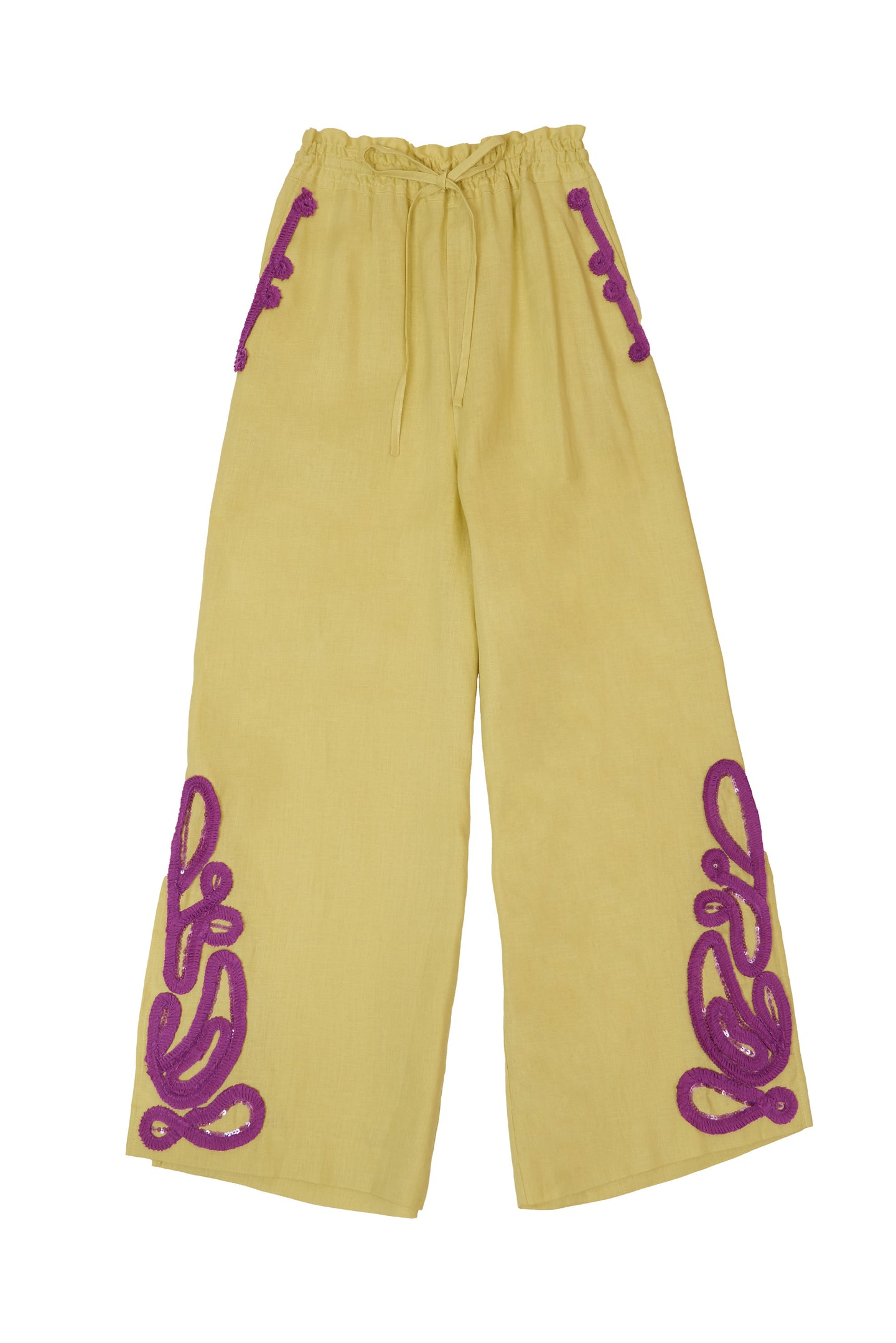 Tape Embroidery Pants | Citrine