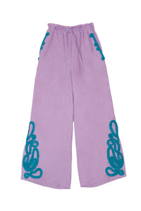 Tape Embroidery Pants | Lilac