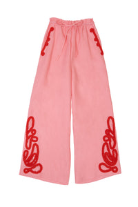 Tape Embroidery Pants | Coral Pink
