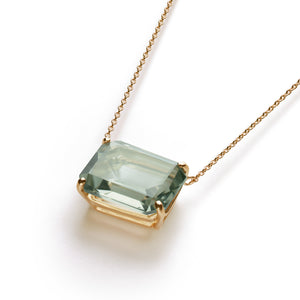 Square Necklace  | Green Amethyst