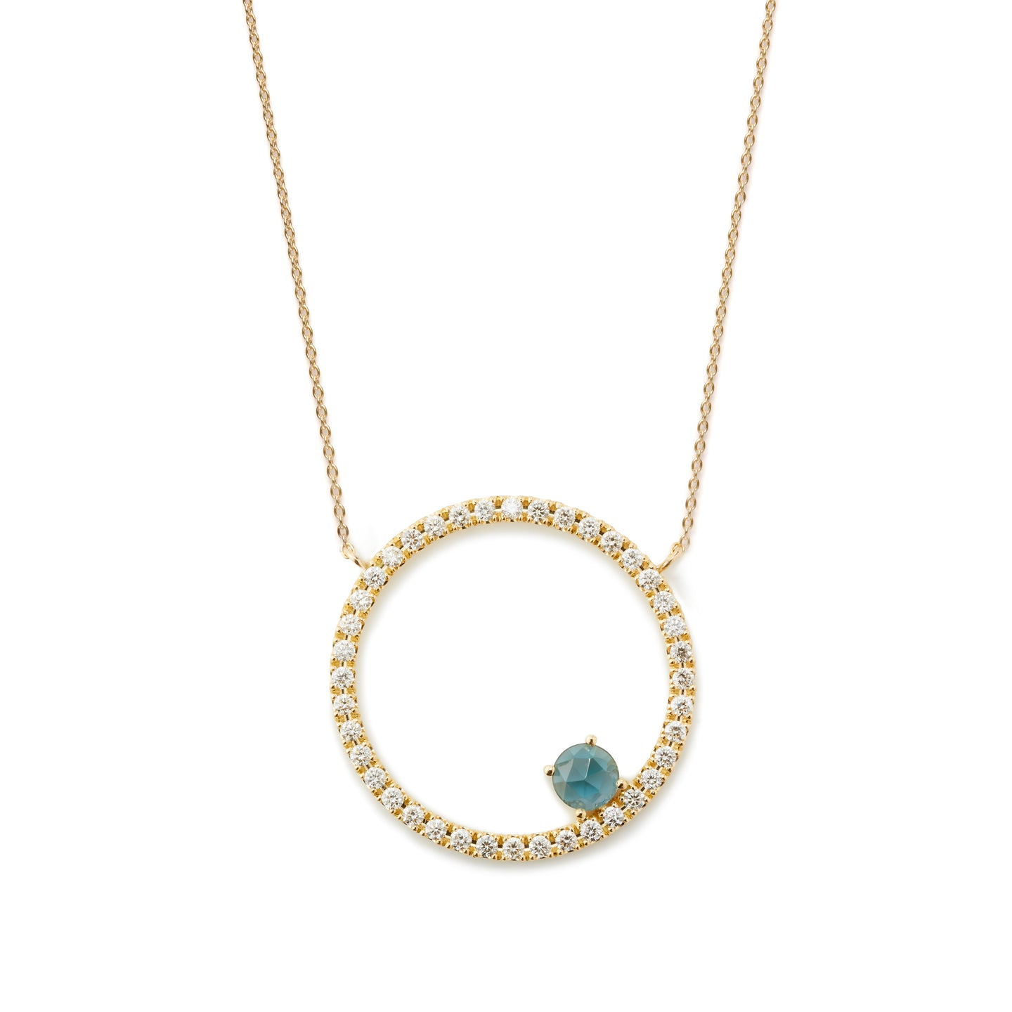 Sacred Geometry Circle Necklace  | London Blue Topaz