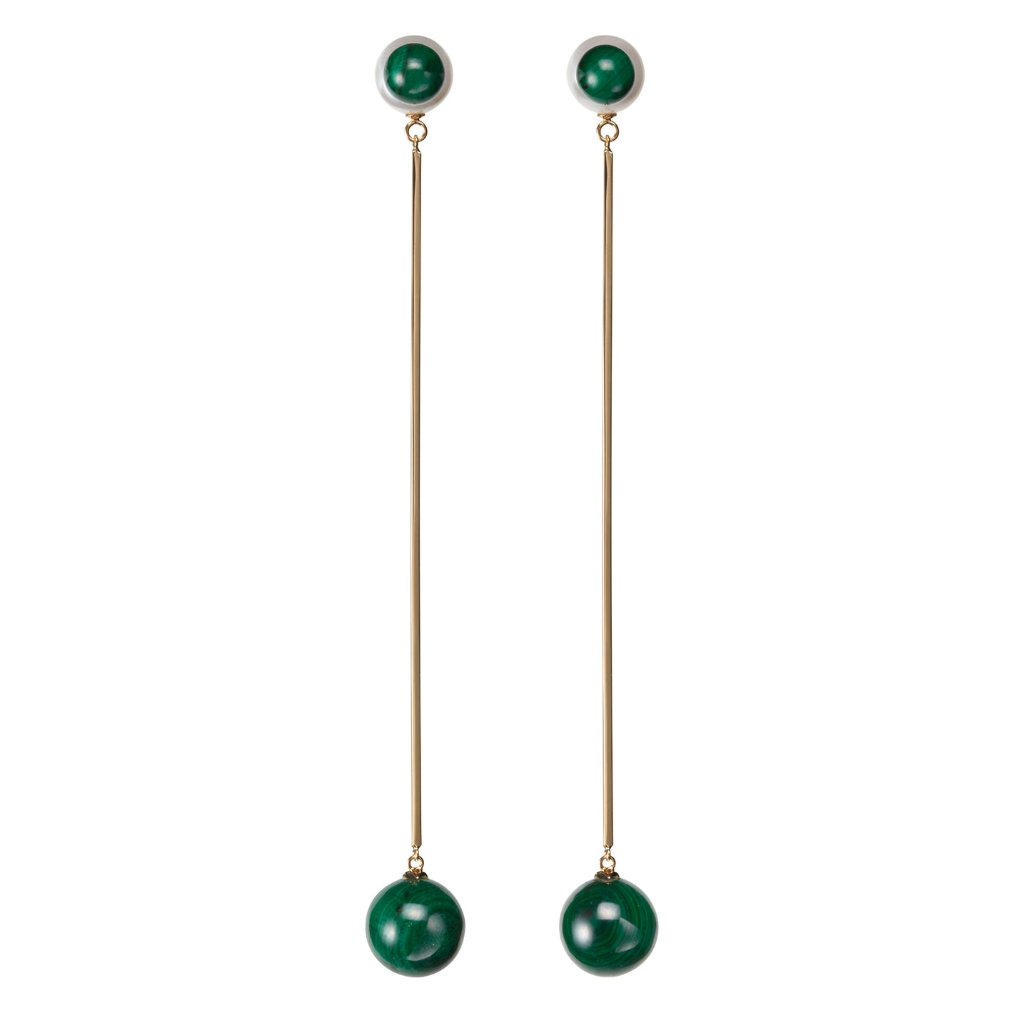 Sphere Drop Earrings | Malachite