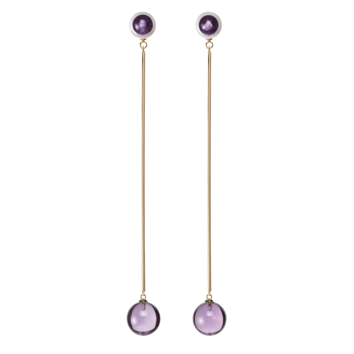 Sphere Drop Earrings | Amethyst