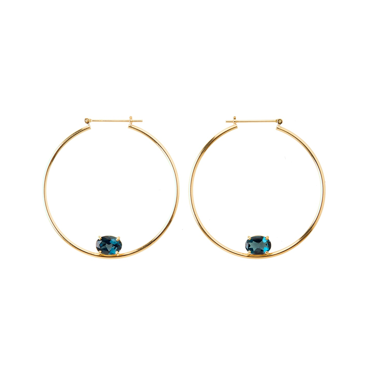 Maan Hoop Earrings  | London Blue Topaz