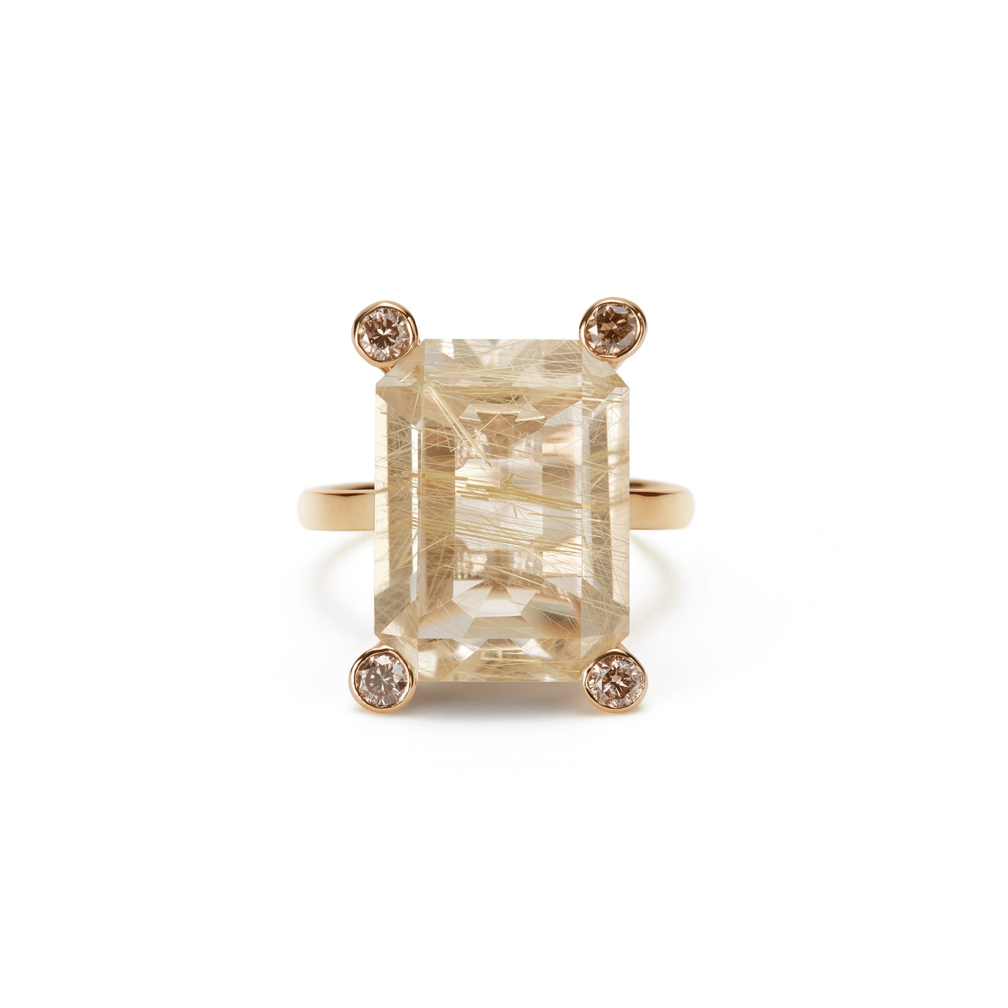 Cosmo Square Ring  | Rutile Quartz
