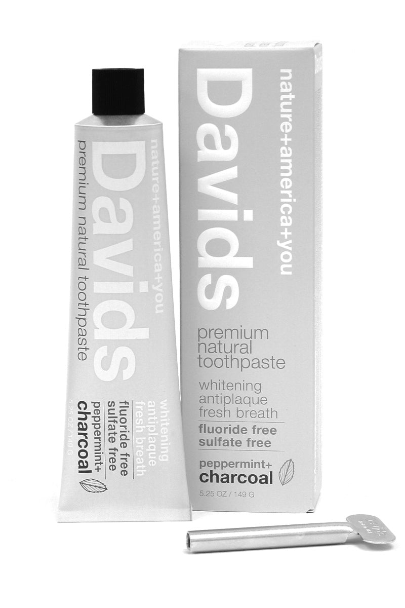 [Davids]--Premium Natural Toothpaste | Peppermint+Charcoal