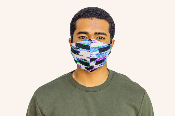 Men's Woven Abstract Purple & Blue