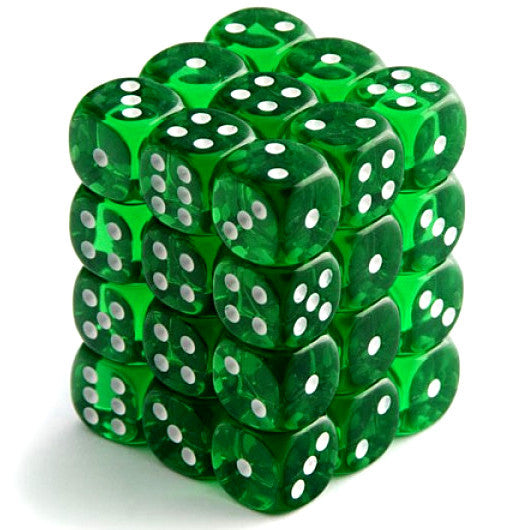 Chessex: Translucent 12mm d6 Green/White Dice Block