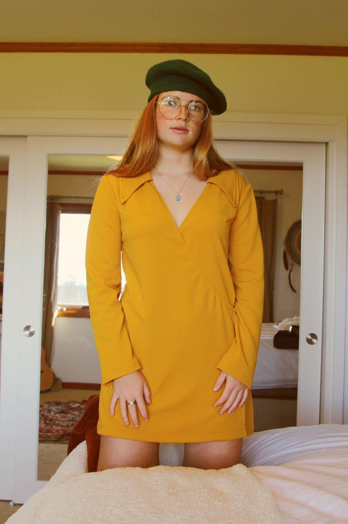 Pattie Boyd Dress in Mustard