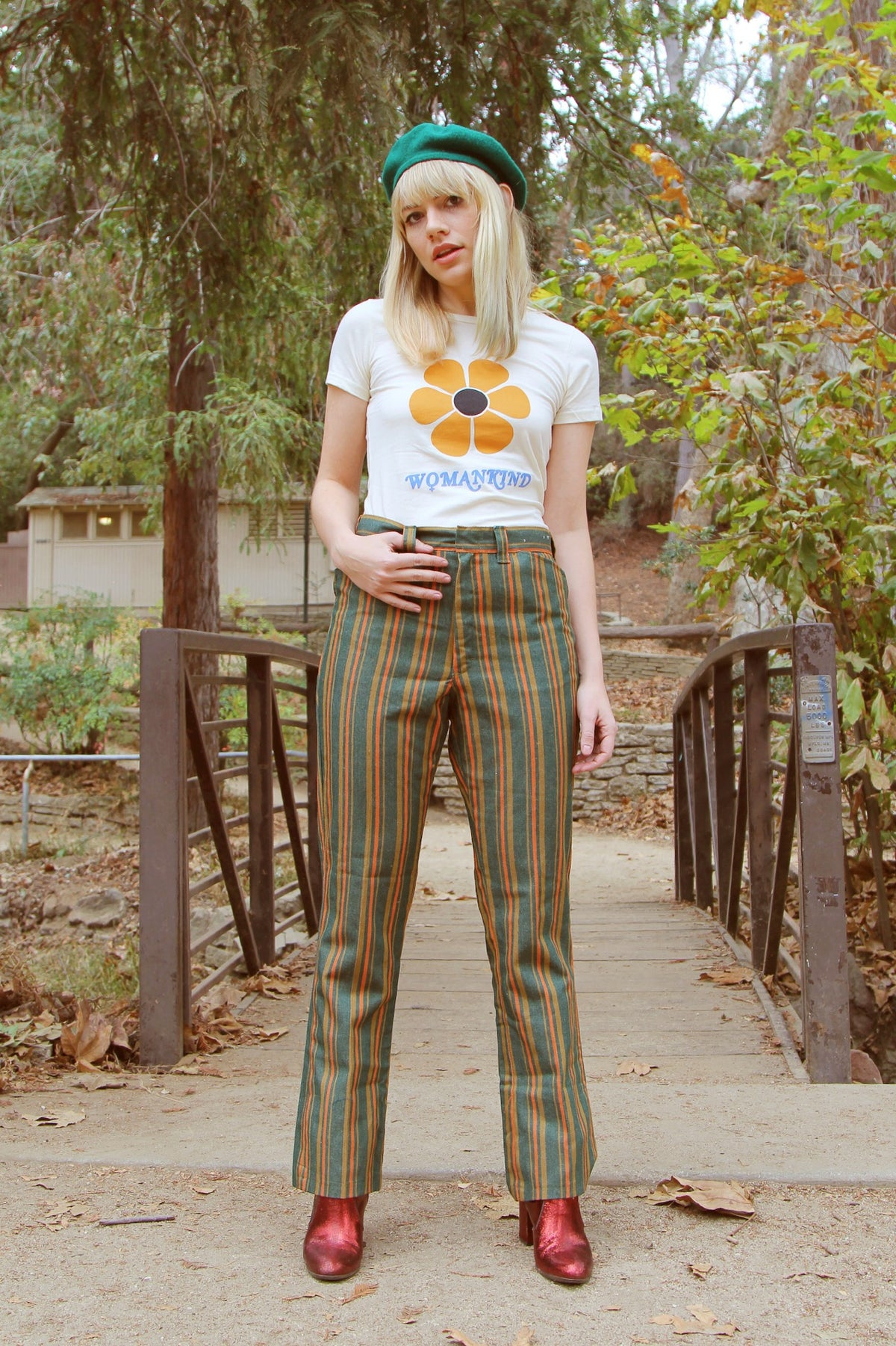 Vintage 1960's Evergreen Tree Stripe Pants