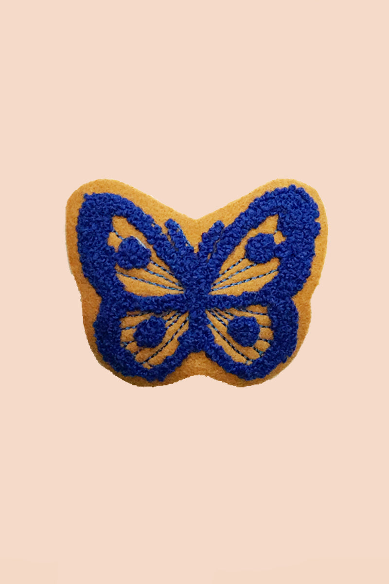 Blue Butterfly Patch in Vegan Suede