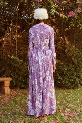 Vintage 1970's Lavender Fields Maxi Dress
