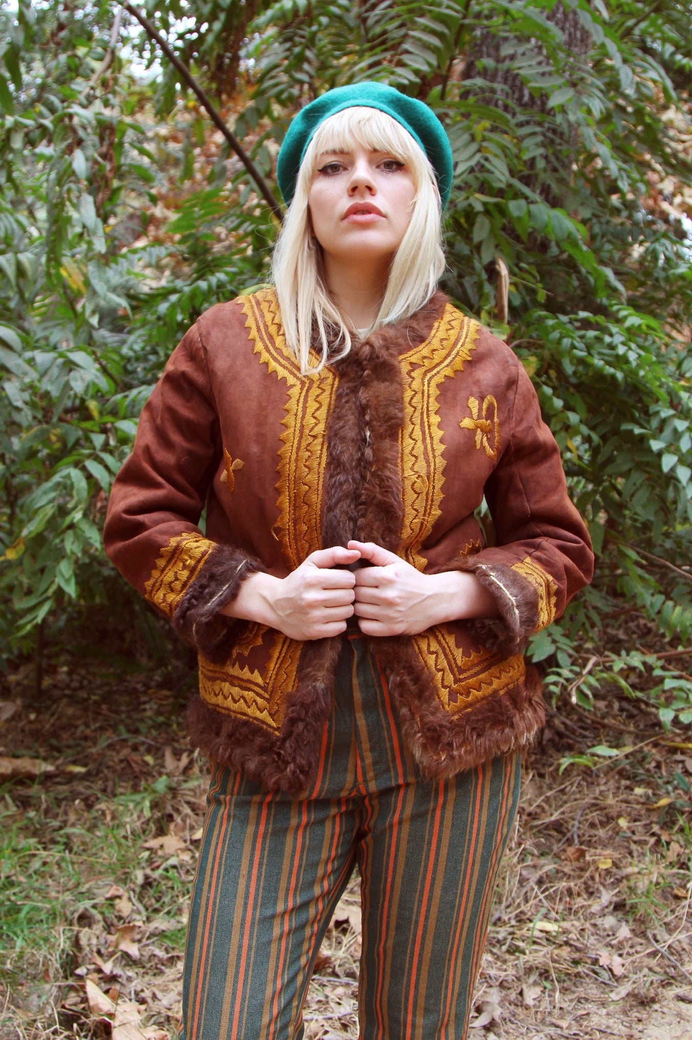 Vintage 1960's Castles Made of Sand Embroidered Suede Fur Coat
