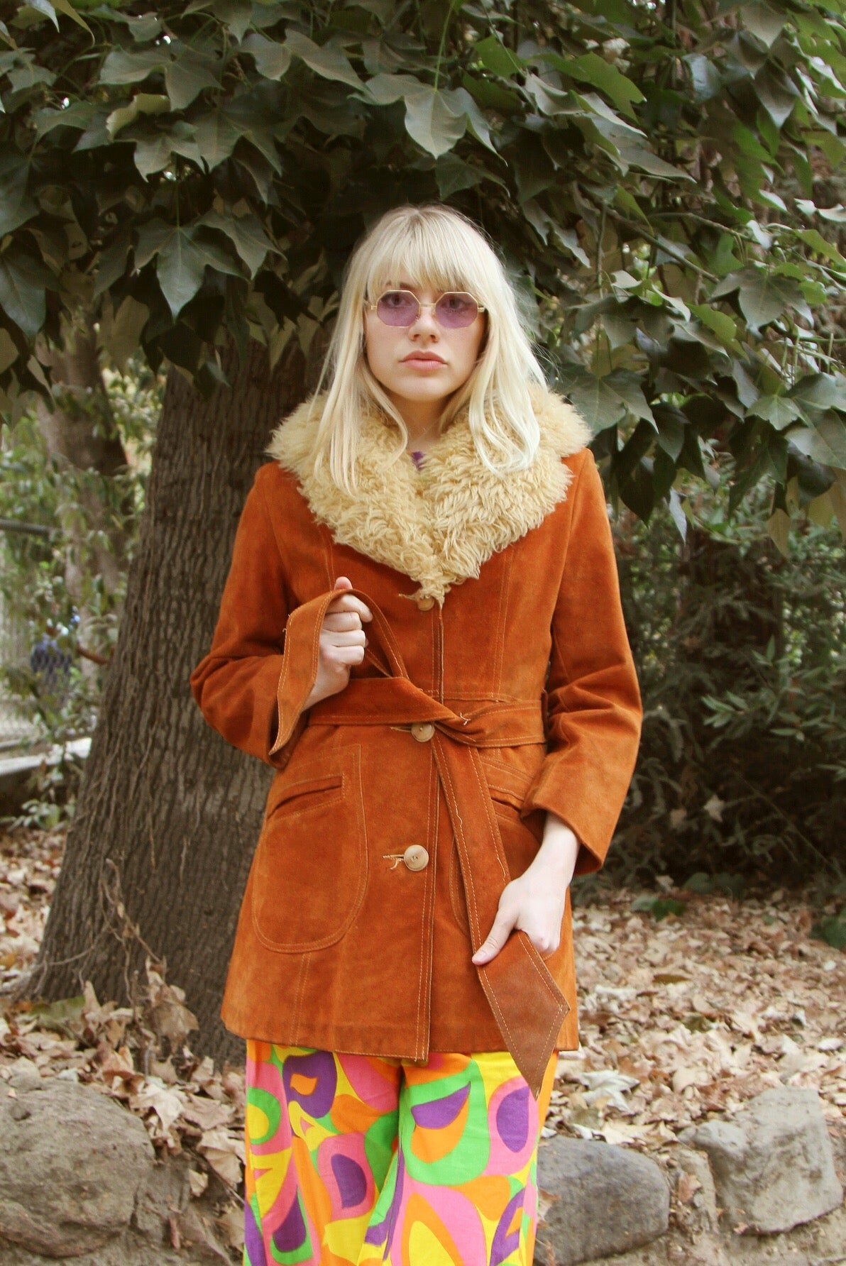 Vintage 1970's Snowqueen of Texas Rust Suede Fur Coat