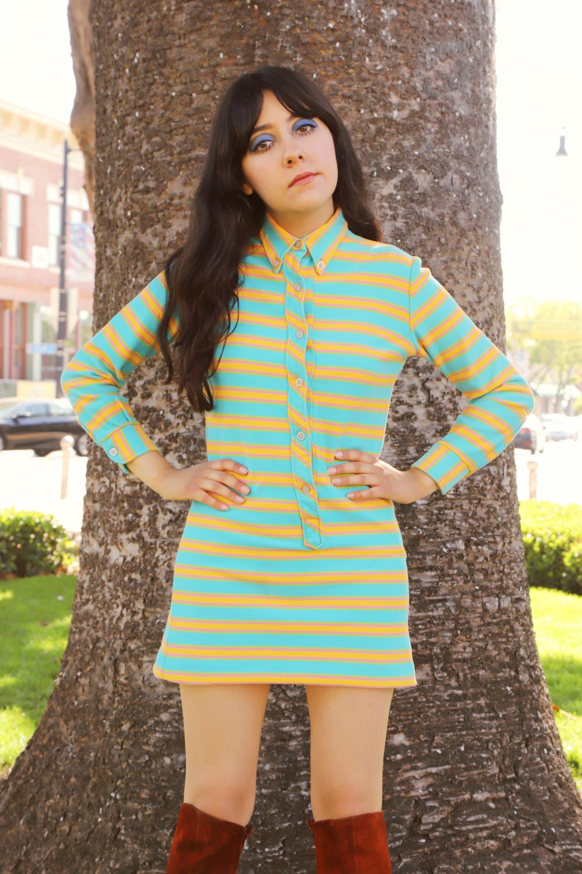 Vintage 1960's Blue Skies Stripe Mini-Dress