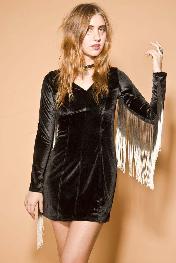 Heartbreaker Fringe Velvet Dress in Black
