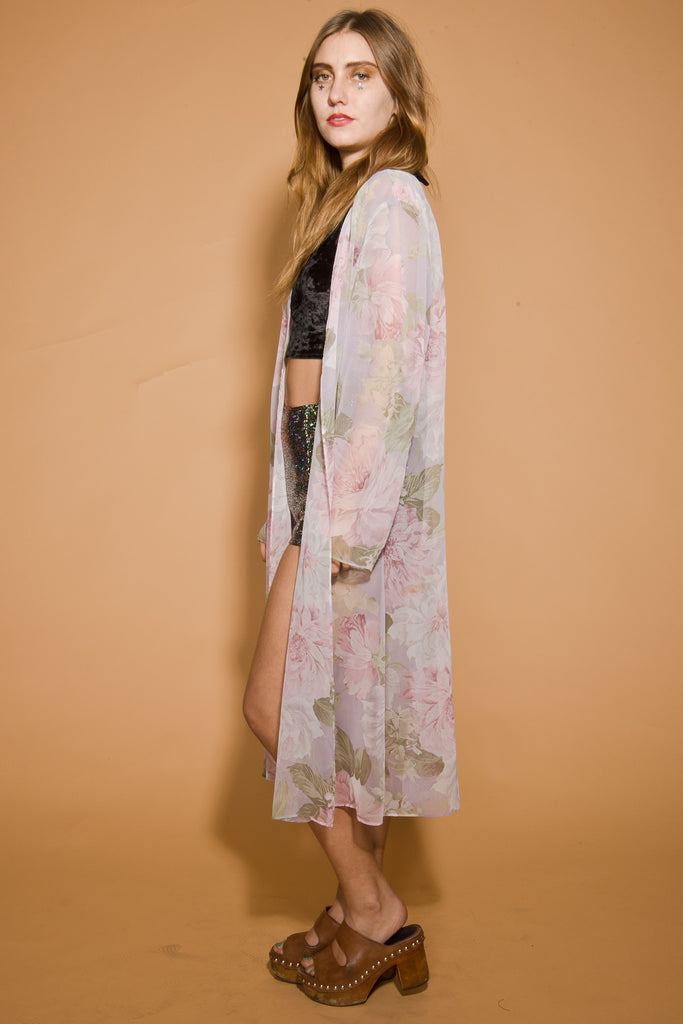 Vintage Sweet Nothings Sheer Floral Duster