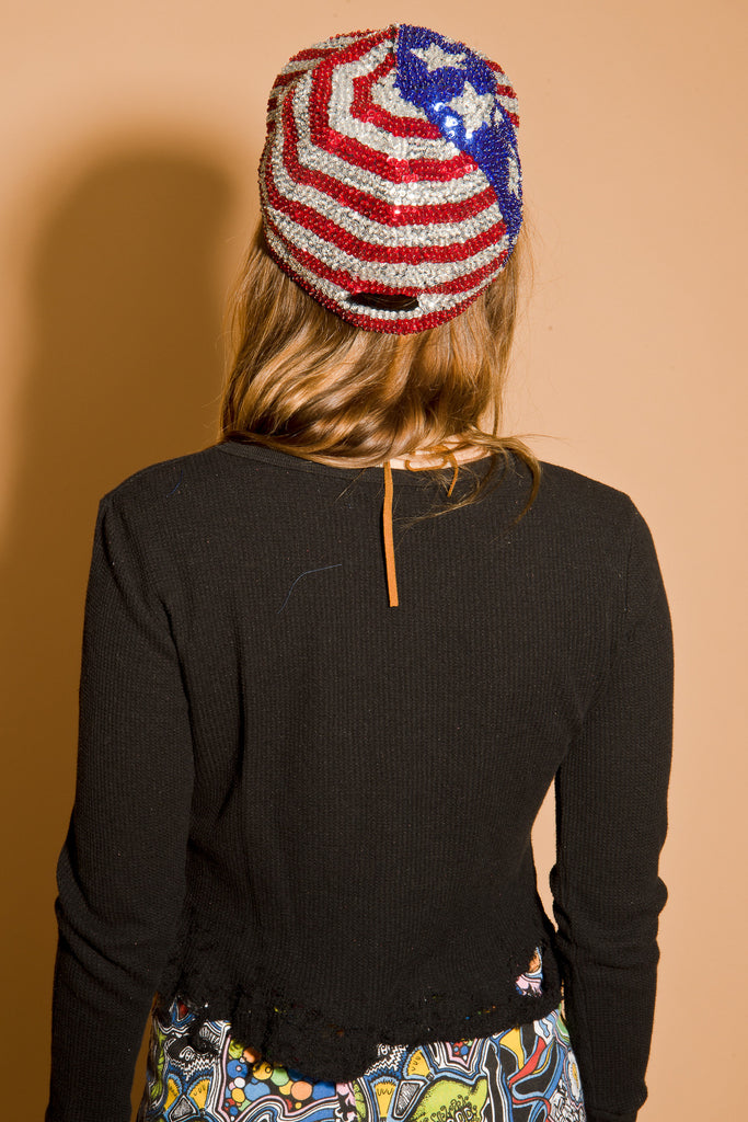 Vintage Stars and Stripes Sequin Cap
