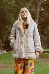 Vintage 1960's Moonage Daydream Embroidered Suede Fur Coat