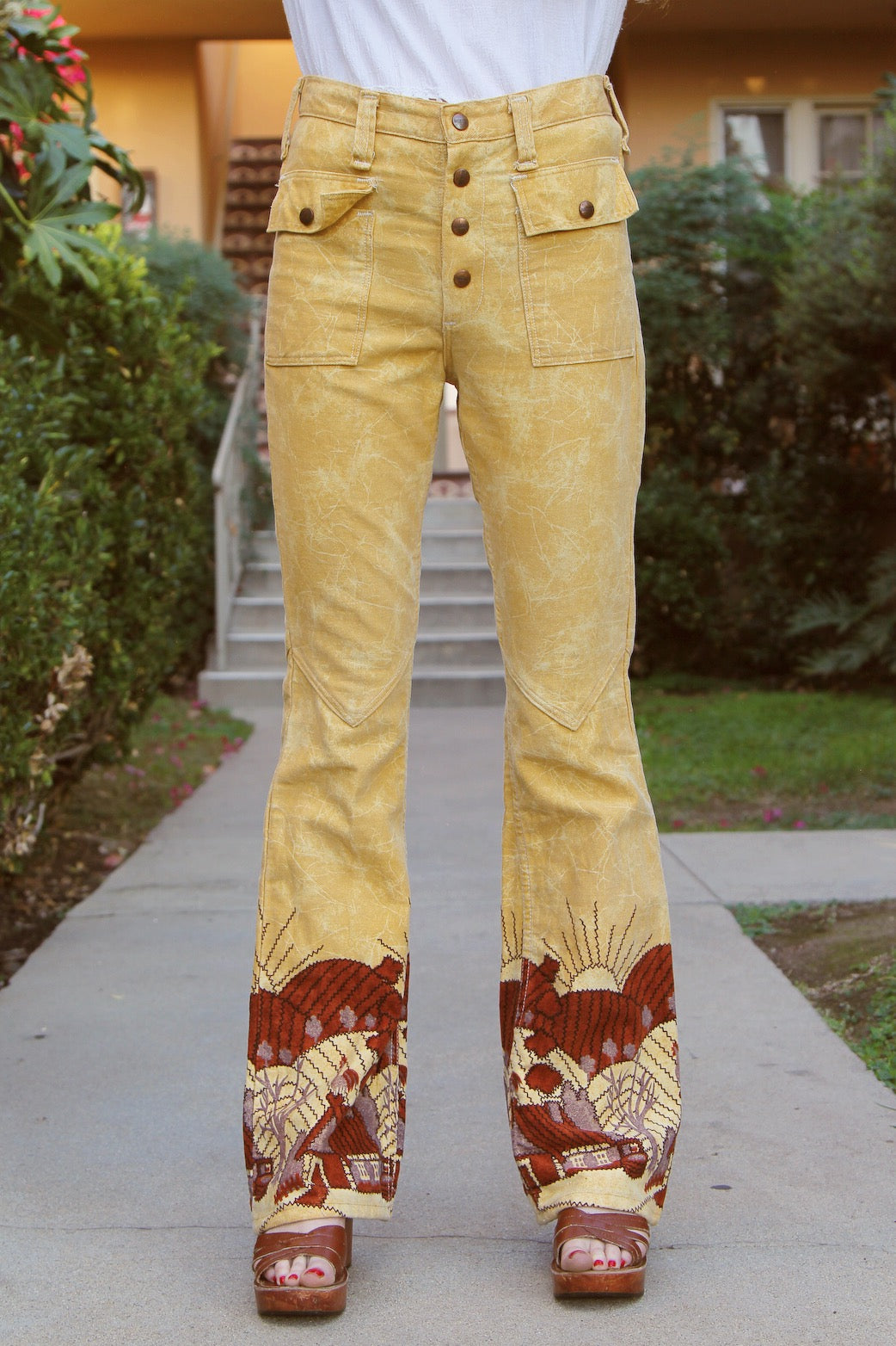 Vintage 1970's Here Comes the Sun Denim Bells