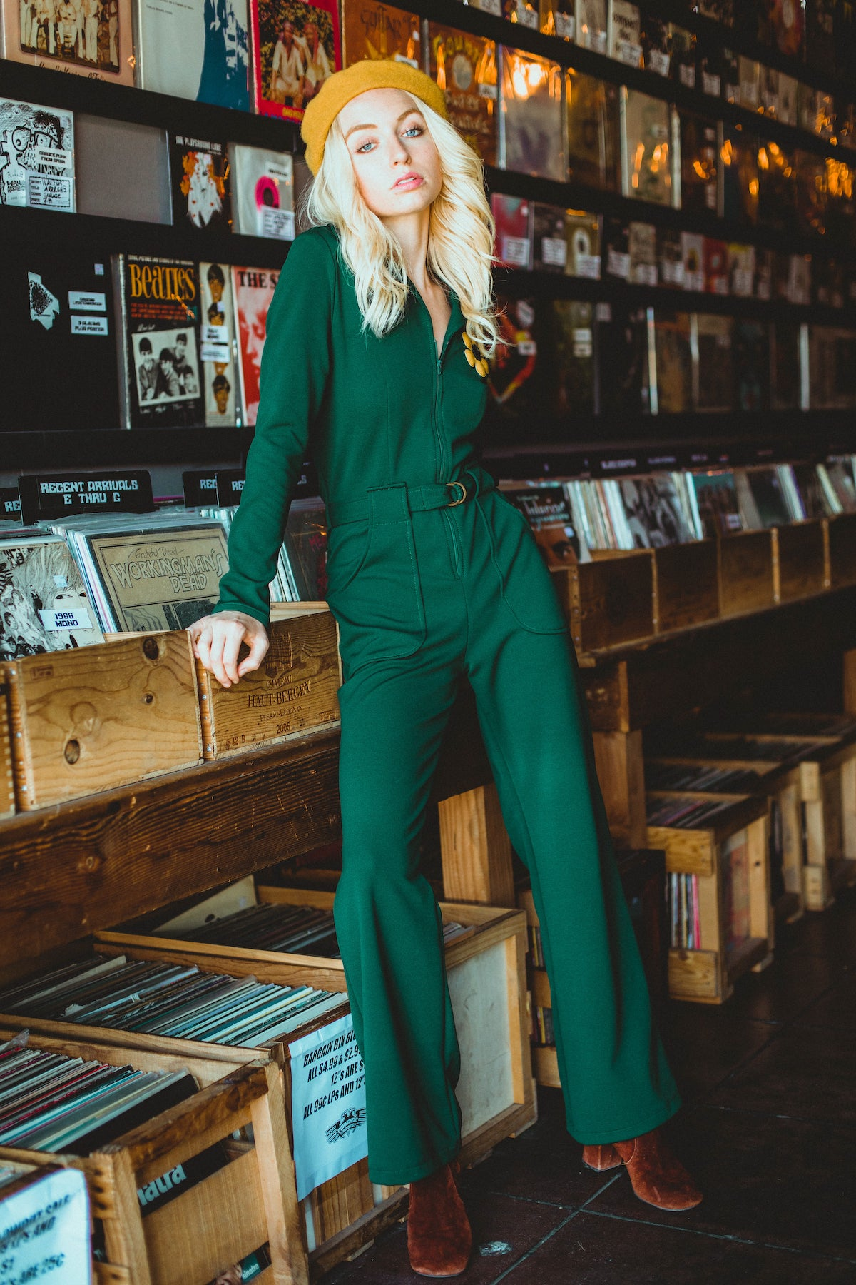 Flower Power Jumpsuit in Evergreen