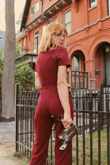 The California Shake Jumpsuit in Burgundy