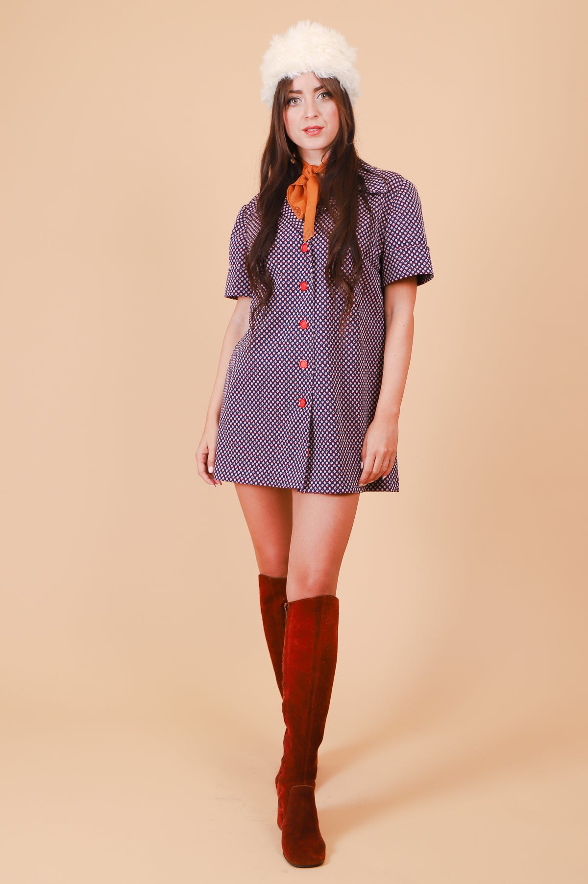 Vintage 1970's Navy Cobblestone Road Mini-Dress