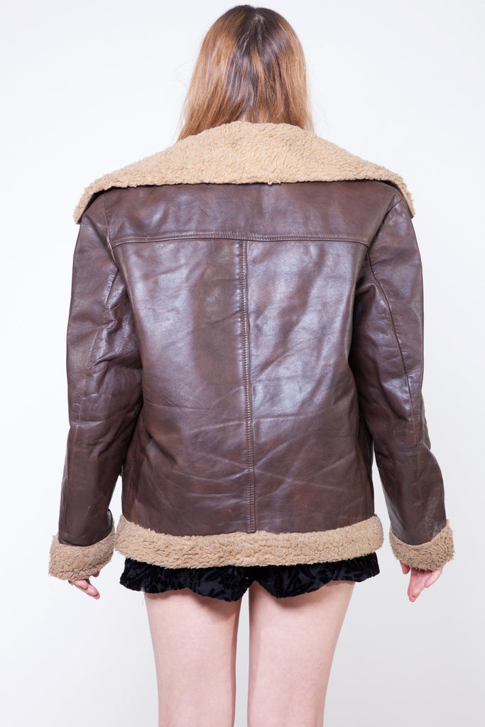 Vintage 70s Brown Leather Aviator Jacket