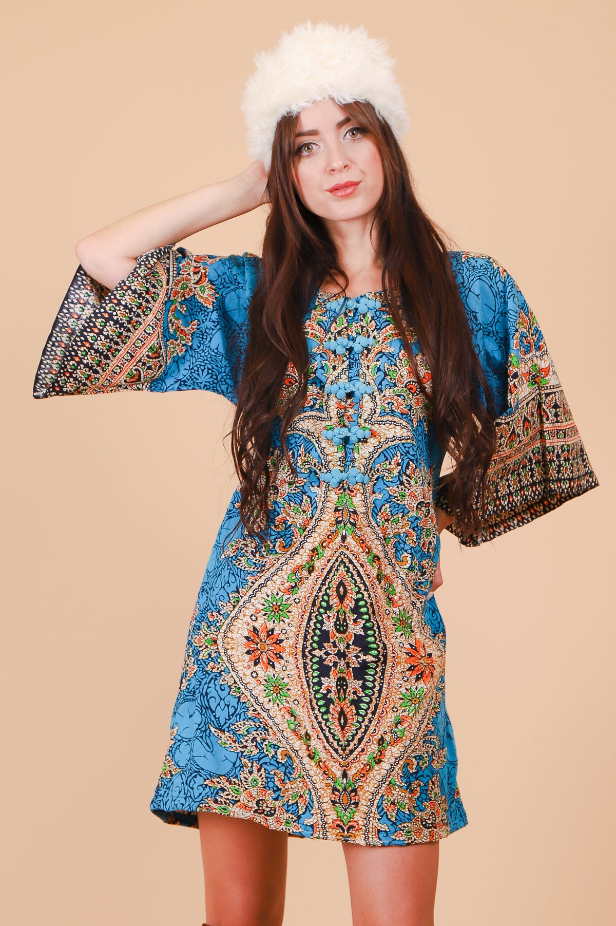 Vintage 1970's Azure Psychedelic Batik Mini-Dress