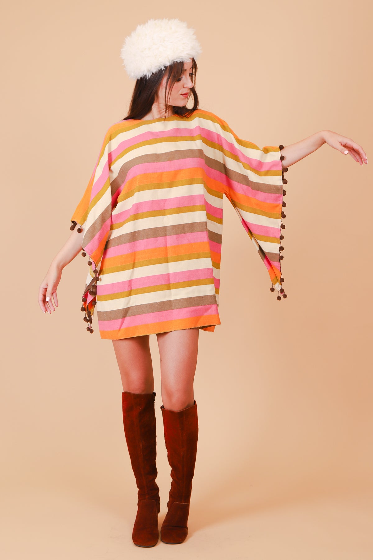 Vintage 1970's Psychedelic Sherbet Stripe Mini-Dress