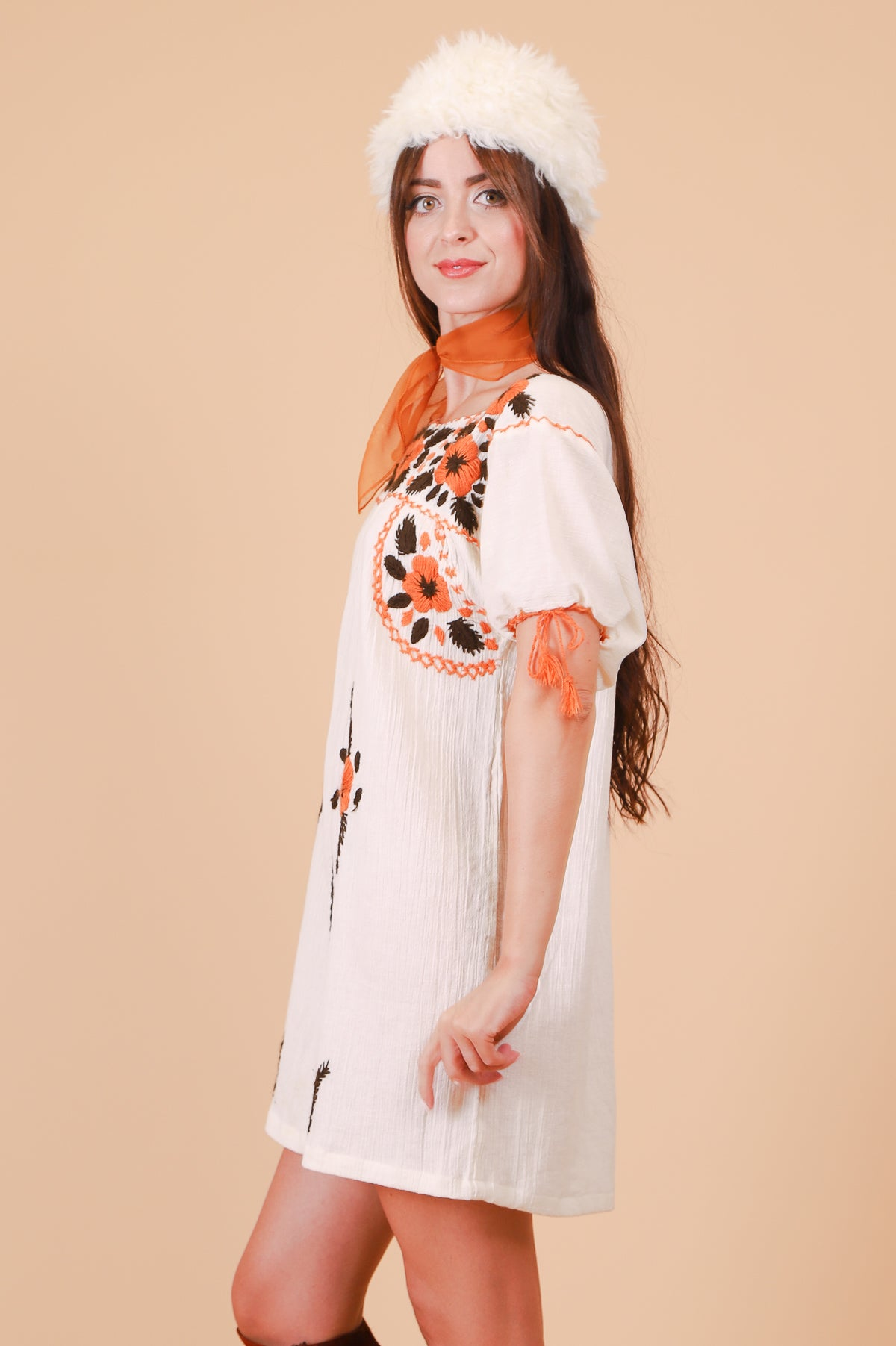 Vintage 1970's Harvest Moon Embroidered Mini-Dress