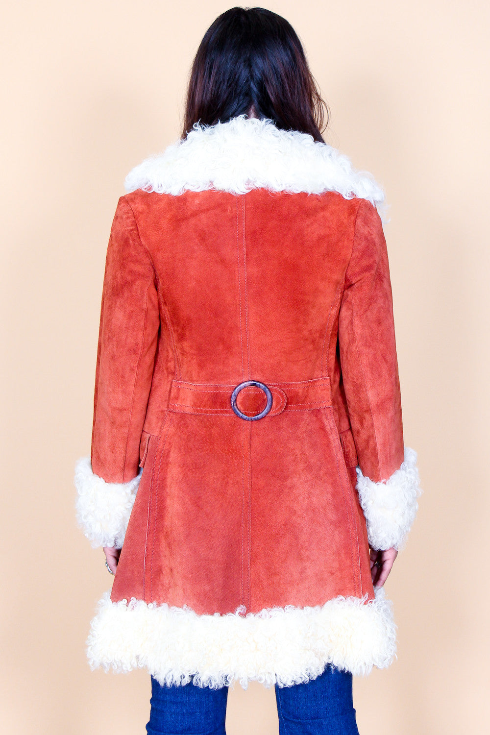 Vintage 60s Street Woman Rust Suede Fur Coat